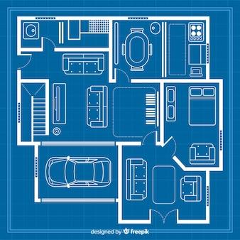 Schets tekenen met blauwdruk voor huis