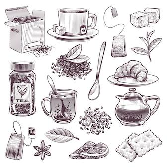 Schets thee. handgetekende theeblaadjes, mokken en waterkoker. gedroogde kruiden