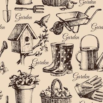 Schets tuinieren naadloze patroon. handgetekende illustratie