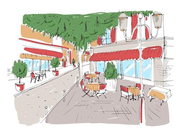 Schets uit de vrije hand van terras of restaurant met tafels die met tafelkleden en stoelen worden bedekt die zich op stadsstraat onder grote boom naast gebouw bevinden. kleurrijke hand getekende illustratie.