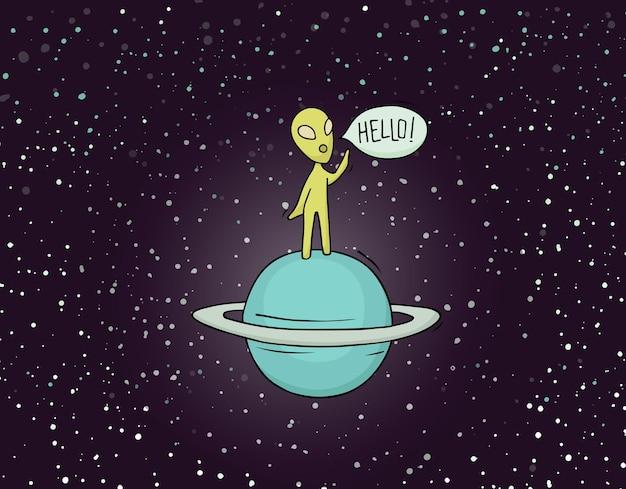 Schets van alien met woord hallo.