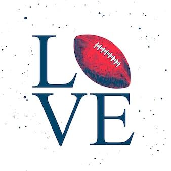 Schets van amerikaanse voetbalbal met typografie
