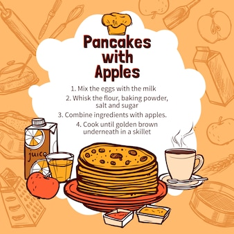 Schets van apple pancakes recept