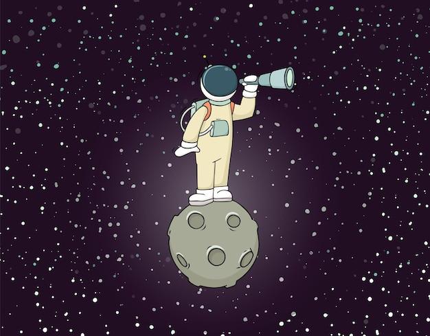 Schets van astronaut met verrekijker.
