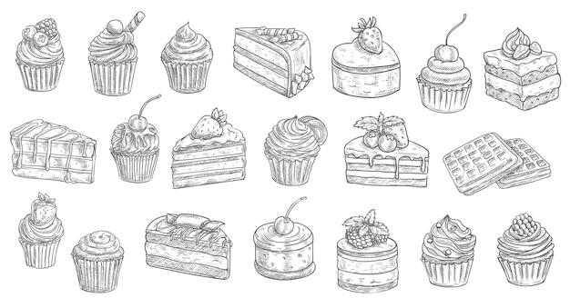 Schets van cakes en cheesecakes, gebakjedesserts en zoet voedsel