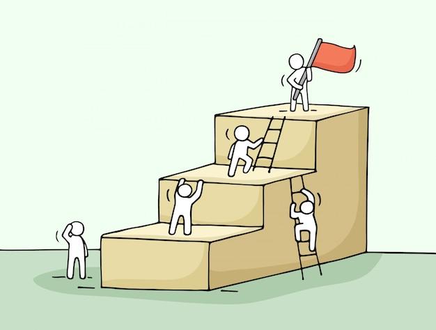 Schets van carrièreladder met kleine mensen klimmen.