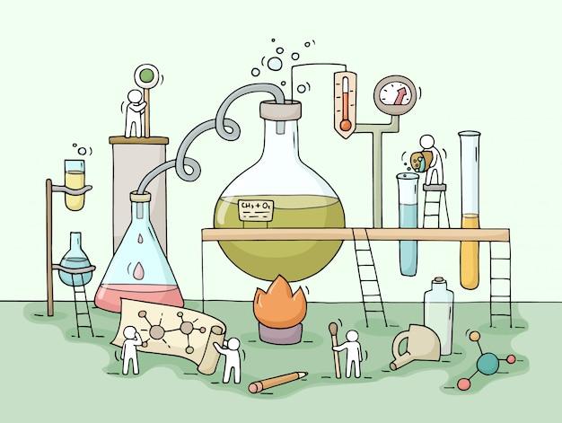 Schets van chemisch experiment met werkende kleine mensen