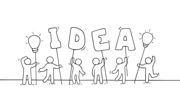 Schets van creatieve kleine mensen.