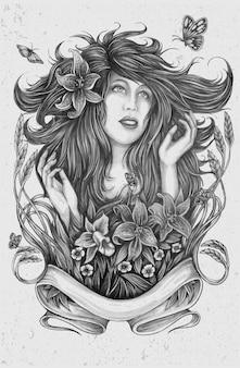 Schets van dame met bloemen en vlinders met grijze colo