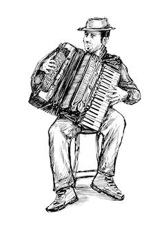 Schets van de accordeon man hand loting