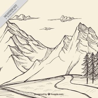 Schets van de bergen met een achtergrond weg