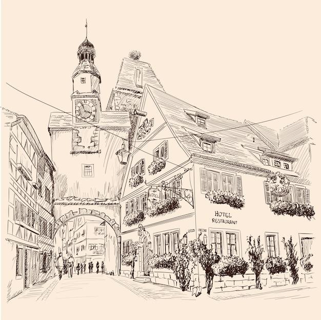 Schets van de centrale straat van een europese stad met gebouwen met meerdere verdiepingen en voetgangers.