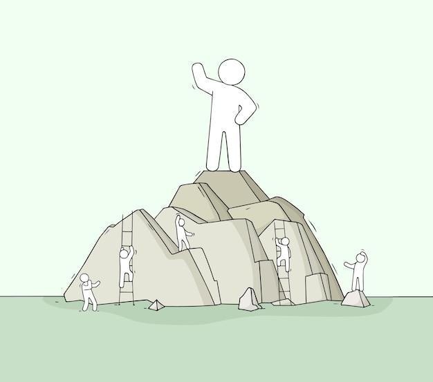 Schets van de mens op de bergtop. doodle schattige scène over leiderschap.
