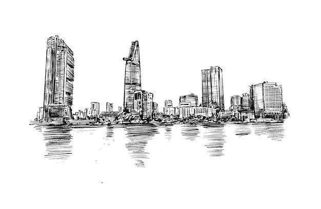 Schets van de skyline van ho chi minh-stad hand tekenen