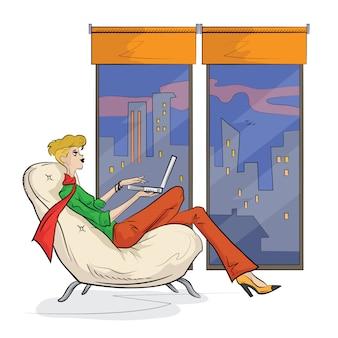 Schets van de vrouw die op schoot top met behulp van laptop werkt.