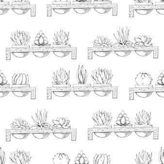 Schets van drie vetplanten in potten op een houten standaard. stijl. naadloos patroon.