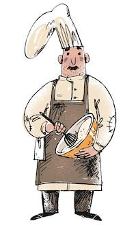 Schets van een bakker die deeg roert voor verse pastei. cartoon hand getekende vectorillustratie