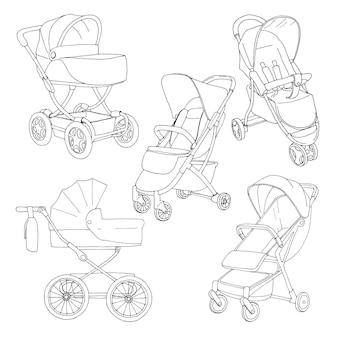 Schets van een kinderwagen en wandelwagen voor wandelingen. vector illustratie