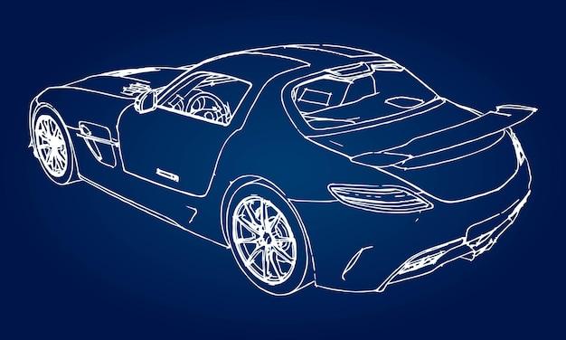 Schets van een moderne sportwagen op een blauwe achtergrond met een verloop.