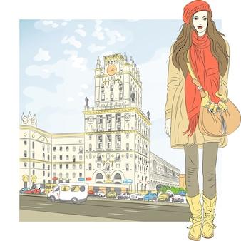 Schets van een stijlvol meisje in het stadscentrum