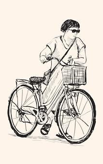 Schets van een vrouw die met fiets loopt, vrije hand tekening illustratie