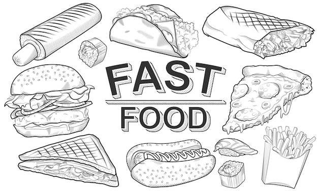 Schets van fastfood op een whiteboard met de inscriptie