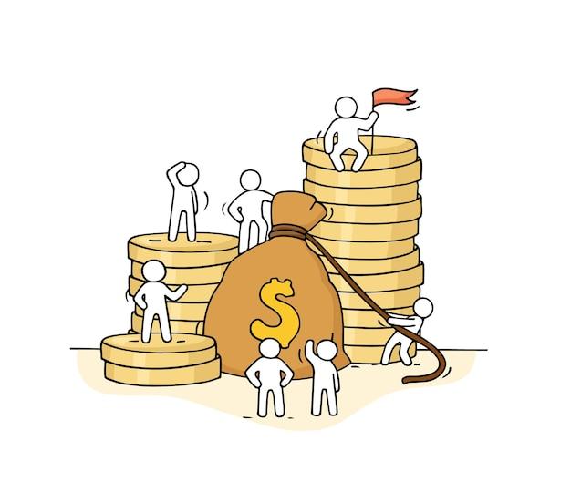 Schets van geldzak met werkende kleine mensen. hand getekend