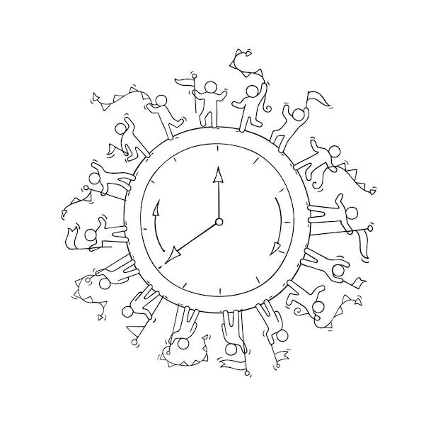 Schets van grote klok met werkende kleine mensen. doodle schattige miniatuurscène over tijd. hand getekend cartoon afbeelding voor zaken en onderwijs.