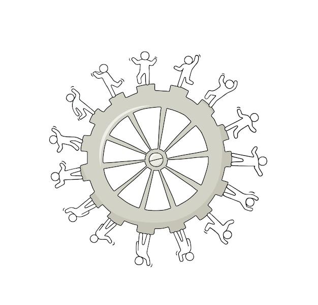 Schets van grote versnelling met werkende kleine mensen. hand getekende cartoon