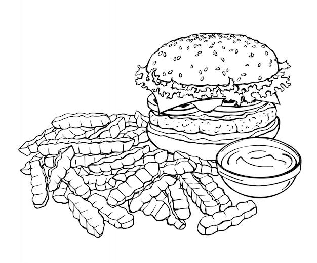 Schets van hamburger en friet.