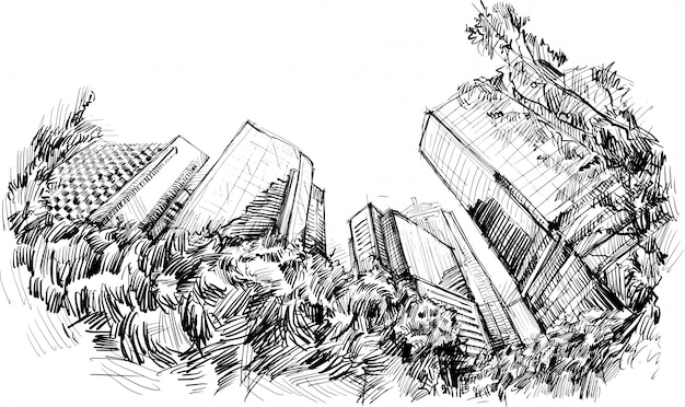 Schets van het gebouw in hong kong met de hand tekenen