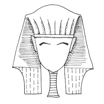 Schets van het hoofd van een farao zonder gezicht.