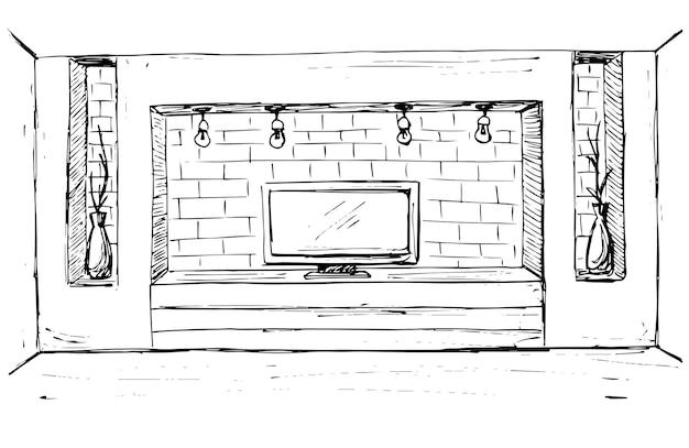 Schets van het interieur. dressoir met tv en planken. vector illustratie.