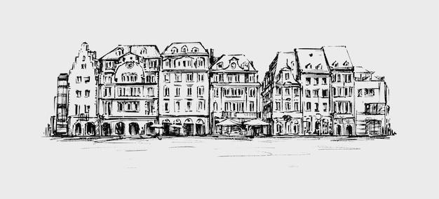 Schets van het oude gebouw in europa hand tekenen