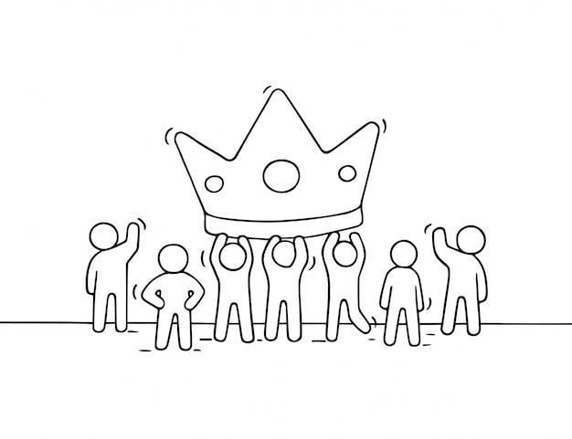 Schets van het werken van kleine mensen met een grote kroon. doodle schattige miniatuurscène van werknemers over succes
