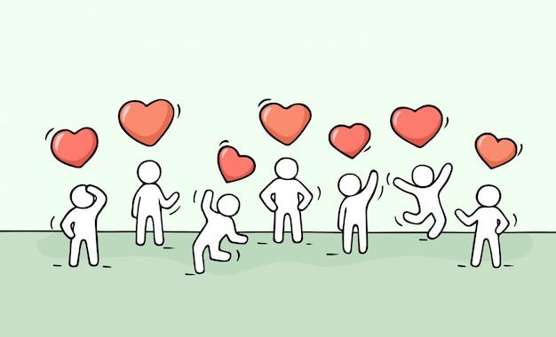 Schets van het werken van kleine mensen met hart tekenen.
