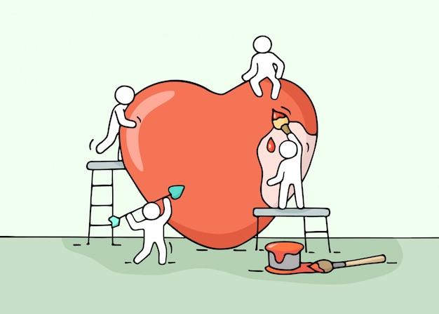 Schets van het werken van kleine mensen met liefde teken.