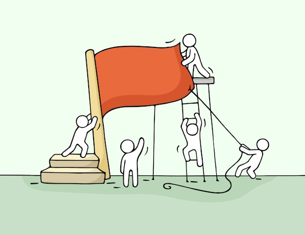 Schets van het werken van kleine mensen met rode vlag.