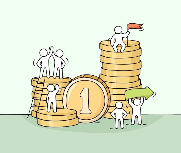 Schets van het werken van kleine mensen met stapel munten.