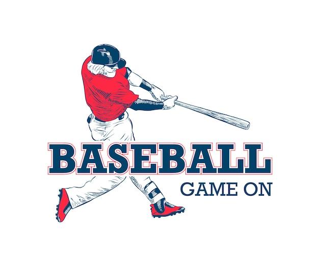 Schets van honkbalspeler met typografie