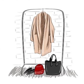 Schets van jas opknoping op een hanger