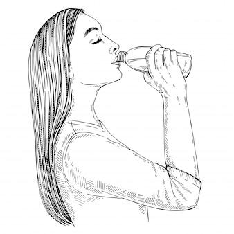 Schets van jonge vrouw met lang haar drinkwater uit de fles. hand getekende illustratie.