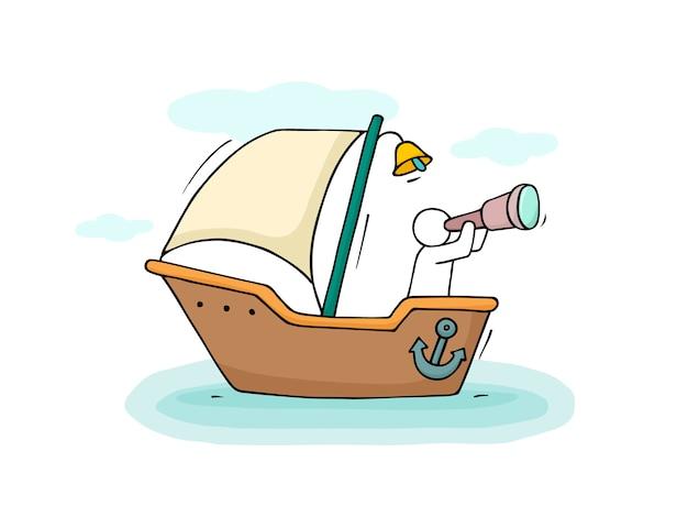 Schets van kleine man varen met de boot