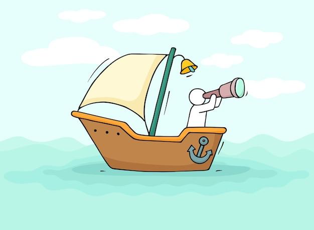 Schets van kleine man zeilen per boot