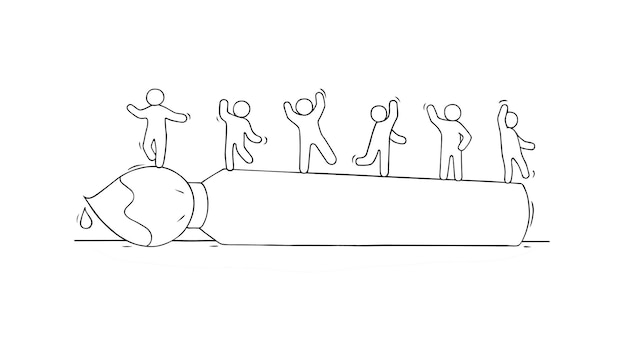 Schets van kleine mensen die op de borstel staan. hand getekend cartoon vectorillustratie.