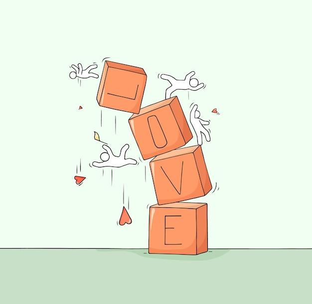 Schets van kleine mensen met gebroken woord love. doodle schattige miniatuurscène over scheiden.