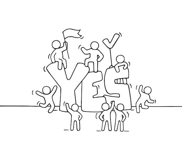 Schets van kleine mensen met groot woord ja. doodle schattige miniatuurscène van arbeiders over overeenkomst.