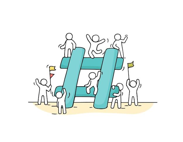 Schets van kleine mensen met grote hashtag. doodle schattige miniatuurscène van arbeiders over internetsymbool. hand getekend cartoon afbeelding voor sociale media.