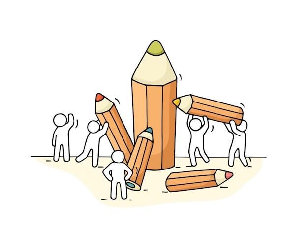 Schets van kleine mensen met potloden. hand getekende cartoon voor het ontwerp van het bedrijfsleven en de school.