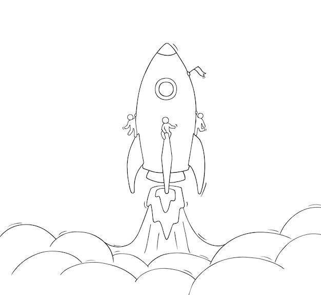 Schets van kleine mensen met vliegende raket. hand getekende cartoon